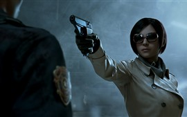 Preview wallpaper Short hair girl, glasses, gun, PC game
