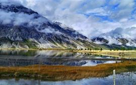 Linha de Sichuan-Tibet, Ranwu, montanhas, nuvens, lago
