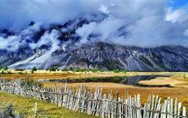 Linha de Sichuan-Tibet, Ranwu, montanhas, cerca, nuvens, paisagem bonita