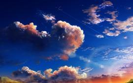 Céu, nuvens, plano, retrato da arte