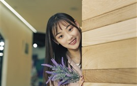 Smile Asian girl, look, wood wall