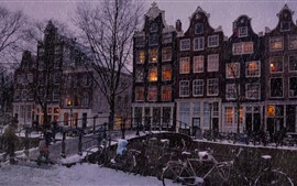 Preview wallpaper Snowy, city, houses, trees, people, night