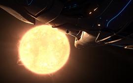 Nave espacial, planeta, sol