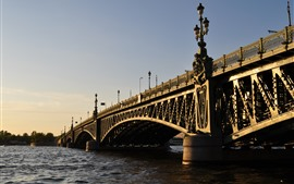 San Petersburgo, puente, río, ciudad