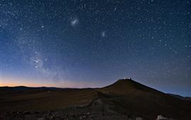 Estrellada, cielo, noche, montaña