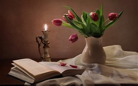 Preview wallpaper Still life, pink tulips, lamp, book, silk