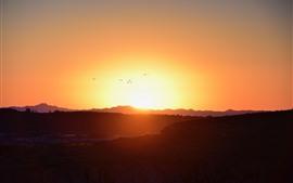 Amanecer, montañas, vuelo de pájaros, cielo.