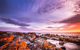 Sunset, rocks, sea, sky, clouds