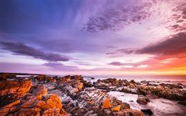 Vorschau des Hintergrundbilder Sonnenuntergang, Felsen, Meer, Himmel, Wolken
