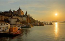 Suecia, Estocolmo, ciudad, río, casas, puesta de sol
