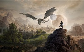 Preview wallpaper The Elder Scrolls, city, moon, planet, dragon