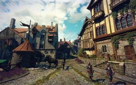 Aperçu fond d'écran The Witcher 3: chasse sauvage, soldats, ville