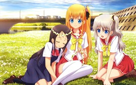 Preview wallpaper Three anime girls, friends, meadow