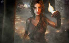 Preview wallpaper Tomb Raider, Lara, girl, fire, forest