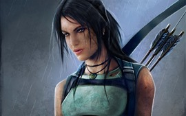 Preview wallpaper Tomb Raider, beautiful girl, Lara Croft, bow, rain