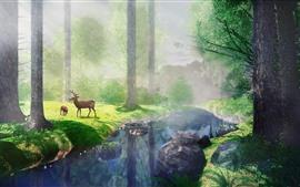 Trees, grass, river, deer, fog, sun rays