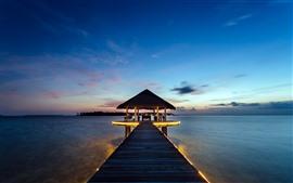 Тропический, курорт, беседка, пирс, море, ночь