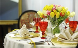 Preview wallpaper Tulips, table, glass cups, fork