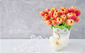 Tulips, vase, bouquet, white love heart
