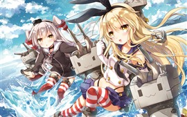 Preview wallpaper Two anime girls, robot, sea