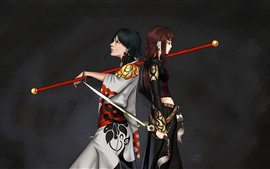 Preview wallpaper Two anime girls, sword, black background