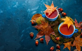 Preview wallpaper Two cups of tea, maple leaves, water, nuts