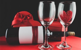 Preview wallpaper Two glass cups, wine, love heart, gifts