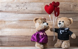 Preview wallpaper Two teddy bears, toy, love hearts