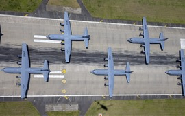 Preview wallpaper USAF, Military Transport planes, top view