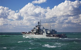 Preview wallpaper Ukraine, Navy, ship, sea, clouds