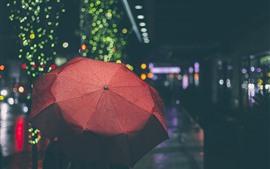 Umbrella, night, light circles