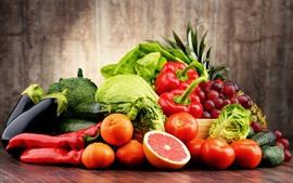 Овощи и фрукты, капуста, перец, помидоры, виноград, апельсины, огурцы