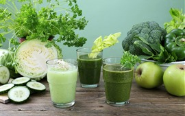 Preview wallpaper Vegetables, cabbage, cucumbers, apple, broccoli, drinks