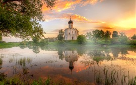Preview wallpaper Vladimir, pond, temple, fog, dawn, sunshine, Russia