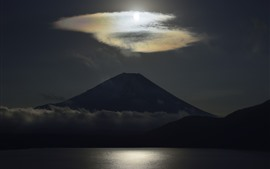 Preview wallpaper Volcano, clouds, lake, darkness, Japan