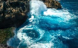 Salpicadura de agua, rocas, mar, Nusa Penida