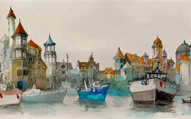 Preview wallpaper Watercolor painting, harbour, boats, houses