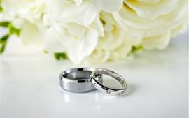 Anéis de casamento, fundo de flores