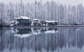 Preview wallpaper West Lake, Hangzhou, trees, buildings, snow, winter, China