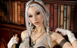Preview wallpaper White hair Cosplay girl, necklace, books