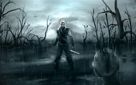 Witcher, rain, swamp, art picture