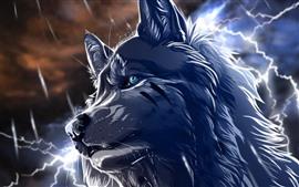 Lobo, ojos azules, relámpago, cuadro del arte