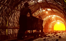 Preview wallpaper Worker, tunnel, mining, track