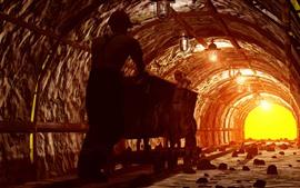 Рабочий, туннель, добыча, трек