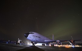 Preview wallpaper Aircraft, airport, USAF, night, starry