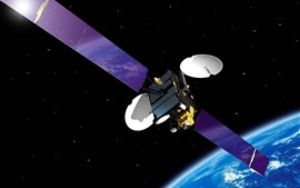 Artificial satellite, blue earth, space