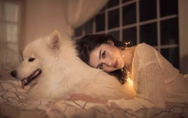 Preview wallpaper Asian girl and white dog, friends