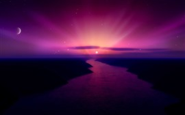 Beautiful sunrise, purple sky, moon, river, creative picture