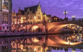 Belgium, Ghent, bridge, river, lights, houses, night