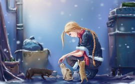 Preview wallpaper Blonde girl and cat, snowy, anime